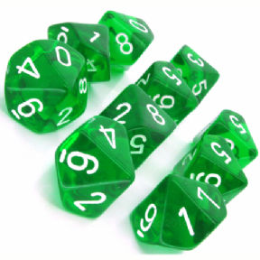 Green & White Translucent D10 Ten Sided Dice Set